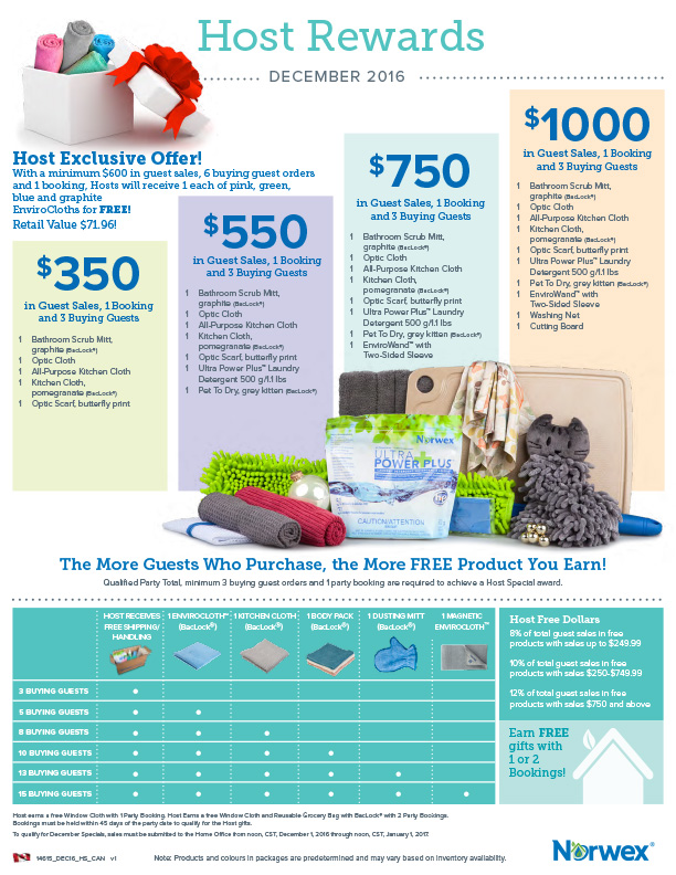 Norwex Host Rewards December 2016 Clean Natural Living With