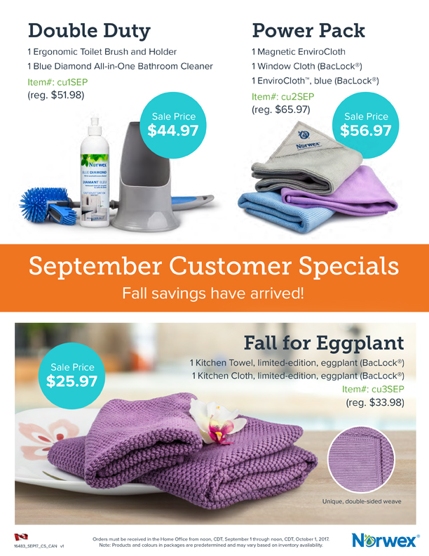 Norwex Customer Specials Sept 2017