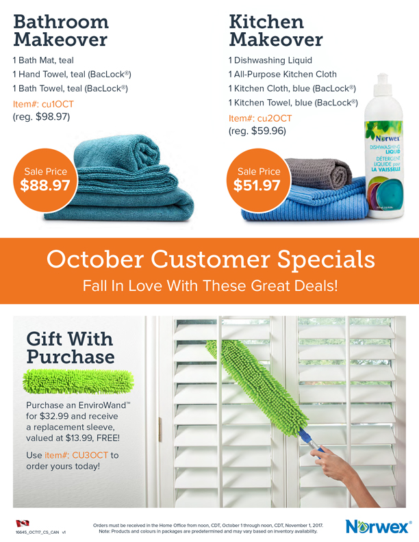 Norwex Customer Specials October 2017