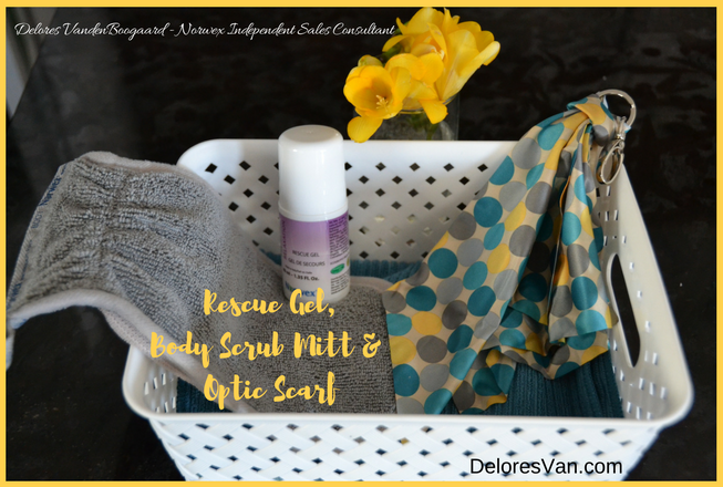 Norwex Body Scrub Mitt, Optic Scarf, Rescue Gel