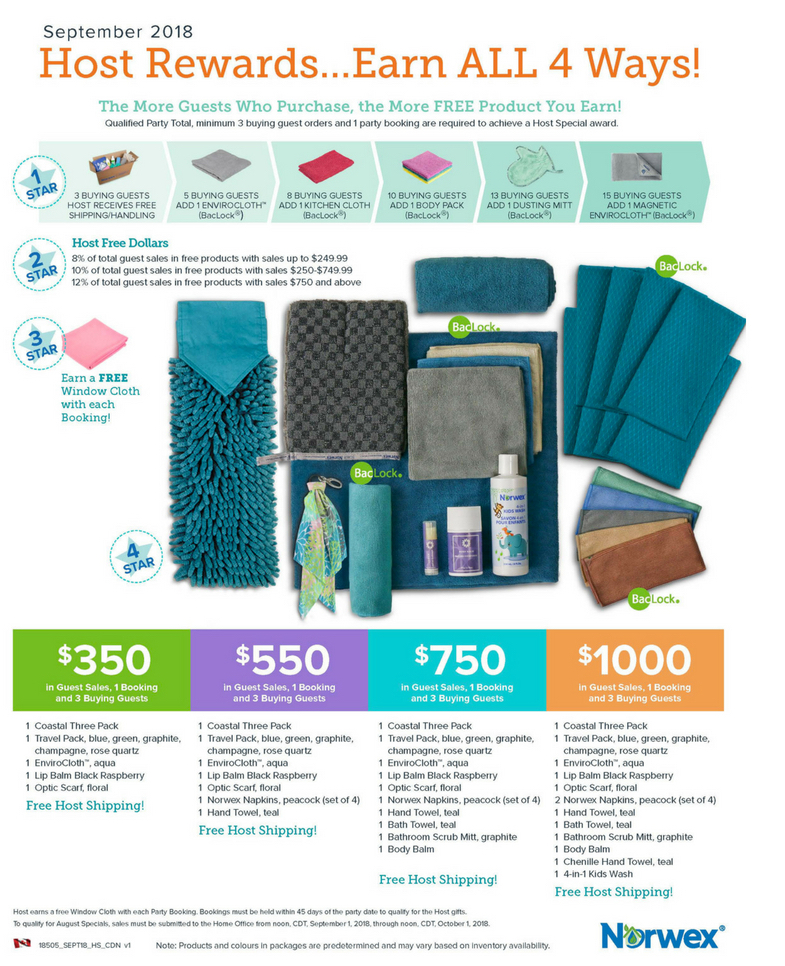 Norwex Host Rewards Sept 2018
